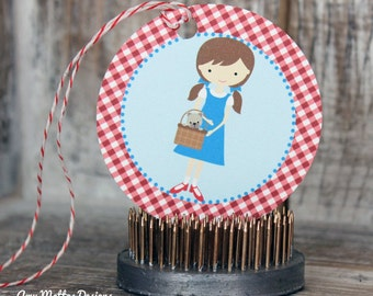 DIY Printable Fresh & Fun Personalized Dorothy Wizard of Oz Birthday Favor Goody Bag Tags Labels