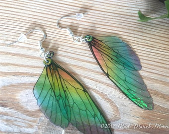 Mini Rainbow Fairy wing earrings, transparent, iridescent cicada style with sterling silver hooks, latch back & clip on version available