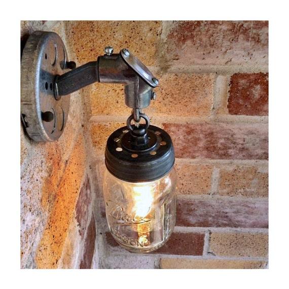Rustic Industrial Modern Mason Jar Lights Vanity Light: JAR OF LIGHT Pint Mason Jar Light Rustic Industrial Wall