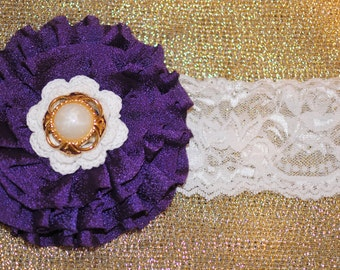 Purple Flower Headband, Pearl Headband, Lace Headband, Baby Headband, Toddler Headband