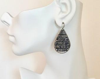 Sterling silver teardrop hoop earrings with freshwater pearls and iolite gemstones