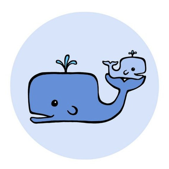 blue momma whale cradling baby whale in blue circle 8 x 8 rh etsy com cartoon baby whale clipart Baby Gray Whale Cartoon