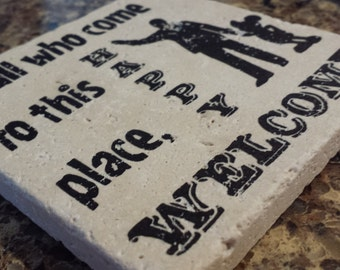 "DISNEY COASTERS - Absorbent, natural stone coasters that put the ""fun"" in functional! 