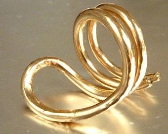 Gold Snake Ring, Statement Ring, Cobra Ring, Naga Asana Ring, Handmade