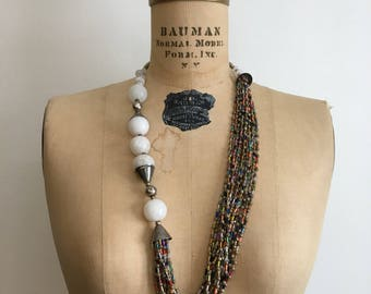 Vintage 70s 80s Boho Tribal Silver Stone Bead Necklace 1970s 1980s