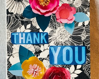 Floral Thank You Greeting Card (Blank Inside)