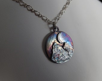 Double Mountain Crescent Moon Handmade Sterling Silver Night scene