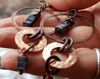copper rainbow hematite hoop earrings