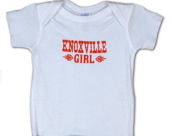 KNOXVILLE GIRL Infant Screenprinted LAP tee Red Ink on White Tshirt