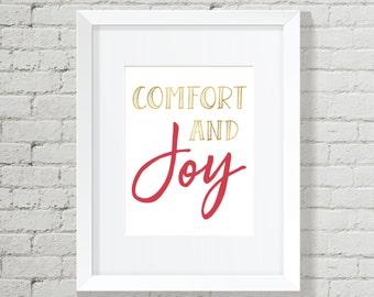 Christmas Decoration, Holiday Decor, Christmas, Christmas Printable, Christmas Wall Art, Wall Art Bundle, Comfort and Joy, Joy sign,
