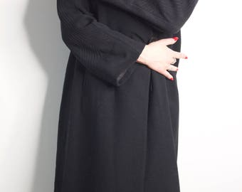 1930s 40s Art Deco Wool Coat Trapunto Sleeves