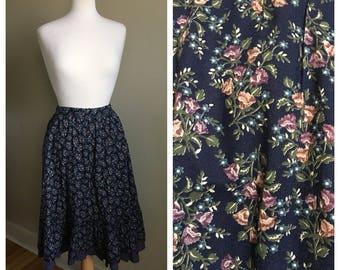 Vintage Gunne Sax prairie skirt floral high-waisted