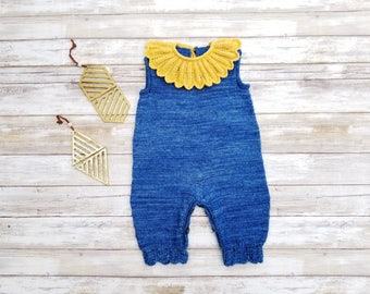 Merino Wool Jumpsuit. Blue Yellow Baby Jumpsuit. Hand Knit Wool Baby Romper.