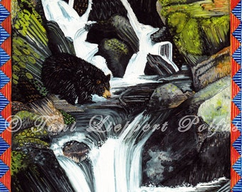 Waterfall Painting, Black Bear Art, Print of Original Watercolor Painting, Woodland Animals, Wildlife Art, Lodge Decor, Folk Art