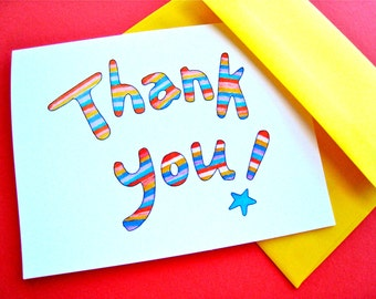 Modern Stripe Thank You Notes - Colorful Note Cards - Boxed Set of Cards