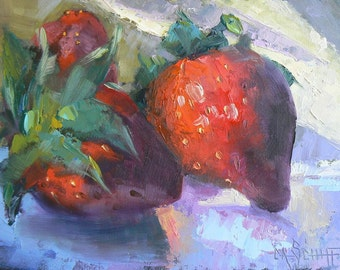 """Strawberry Painting, Strawberry Still Life, Kitchen Painting, Daily Painting, 6x8"""", OOAK,"""" Strawberry Jam"""", Free Shipping in US"""