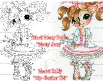 INSTANT DOWNLOAD Digital Digi Stamps Big Eye Big Head Dolls Digi Messy Jessy IMG679 By Sherri Baldy