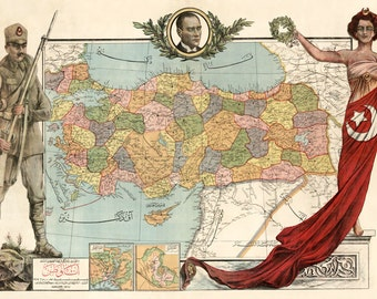 MP65 Vintage 1927 Historical Political Boundaries Map Of Turkey Europe Poster Re-Print Wall Decor A1/A2/A3
