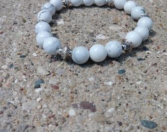 Howlite Bracelet, Gemstone Bracelet, Hippie Jewelry, Crystal Jewelry, Festival Jewelry, Stackable Bracelets, Yoga Beads