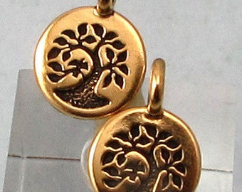 TierraCast Small Tree Charm, Antique Gold, 2-Pc. TG34