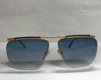 Logo Paris Vintage sunglasses gold metal with blue lenses