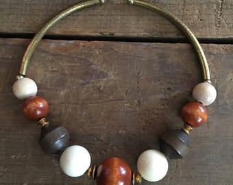 Vintage 80s Statement Necklace | Wooden Plastic Metal Necklace | Choker