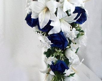 Navy blue bouquet etsy navy blue wedding bouquet mightylinksfo