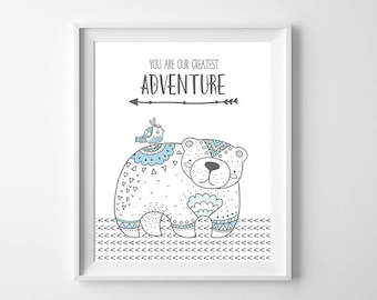 Our Greatest Adventure Nursery Art Printable, Tribal Bear Wall Art, Woodland Art, Boho Nursery Bear Artwork Toddler Adventure 16x20 Wall Art