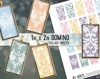 Damask Pastel 1x2 Domino Collage Sheet Digital Images for Domino Pendants Magnets Scrapbooking Journaling JPG PNG D0035