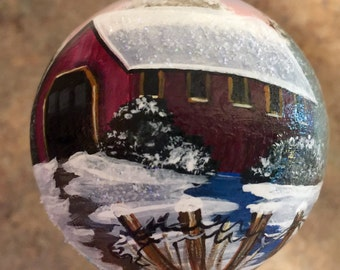 Handpainted Glass Ornament with Covered Bridge