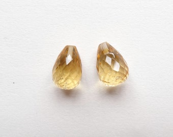 A+ grade Yellow Citrine Half Top Drilled Faceted Fat Teardrop Briolettes 10x15 mm One Pair Perfect for earrings K4867