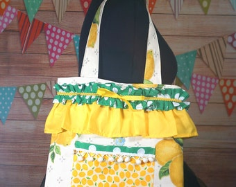 Lemon and Green polka Dot Cute Tote Bag Handmade Cotton