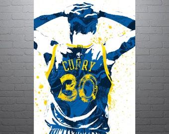 Stephen Curry Golden State Warriors, Sports Art Print, Basketball Poster, Kids Decor, Watercolor Abstract Drawing Print, Modern Art