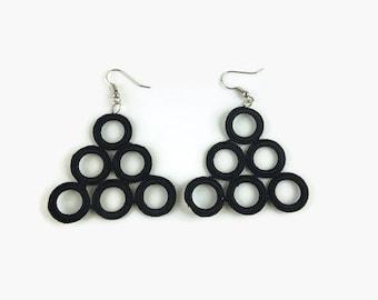 Black Triangle Earrings, Crocheted hoops , Geometric Jewelry , Fiber, Textile, Crochet Jewelry,
