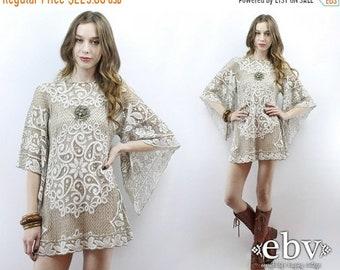 Crochet Dress Angel Sleeve Dress Hippie Dress Festival Dress Hippie Wedding Dress Lace Dress 1970s Dress 1960s Dress 70s Dress 60s Dress S