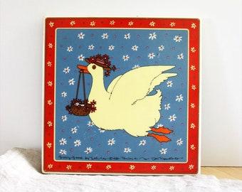 Gracy Goose. Vintage 1980s Taylor and Ng ceramic tile trivet.