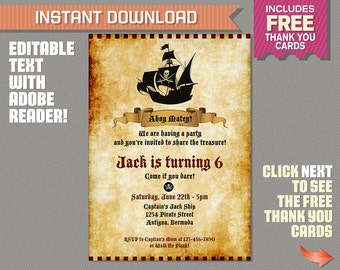 Pirate Birthday Party Invitation with FREE Thank you Card - INSTANT DOWNLOAD - Pirate Birthday - Edit at home with Adobe Reader