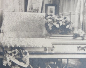 Death Comes Home - Sad 1920's Living Room Wake Snapshot Photo - Free Shipping