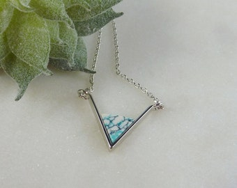 Color Collection. Silver and Mint Chevron Necklace. modern necklace. layering necklace. triangle necklace. stone necklace. silver necklace.