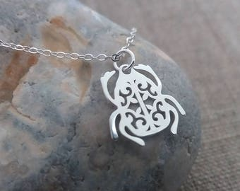 Silver Scarab Necklace. Sterling Silver Beetle Pendant. Delicate Dainty. Layered Layering. Holy Beetle. Filigree Scarab Pendant