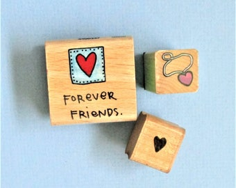 Hearts and Friends (3) Papercraft Rubber Stamps Wood Mounted Art Craft Supplies Scrap Booking Stamping Greeting Card Making Planner