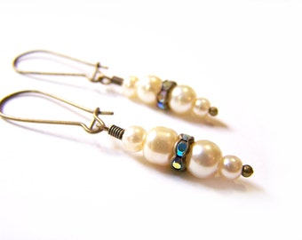 Bronze Dainty Vintage Inspired Faux Pearl Rhinestone Antiqued Brass Dangle Earrings / Gift for Her