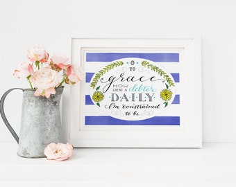 O to Grace Hymn Wall Art- Hand Lettered Christian Home Decor, Inspirational Quotes Print, Gifts for Her, Christian Gifts