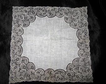 Lace Handkerchief, Antique Beige Wedding Hankies Linen, Gift for Bride, Bridal Hankerchief
