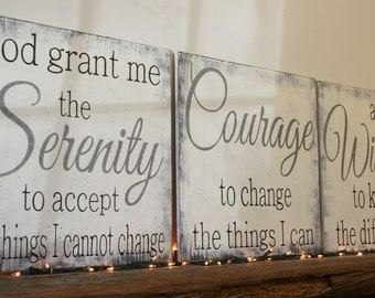Serenity Prayer Wood Sign God Grant Me The Serenity To Accept The Things I Cannot Change Christian Wall Art Religious Wall Decor Shabby Chic & Serene wall art | Etsy
