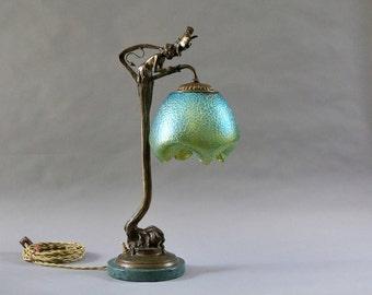 Art nouveau lamp etsy bronze art nouveau lamp aloadofball Images