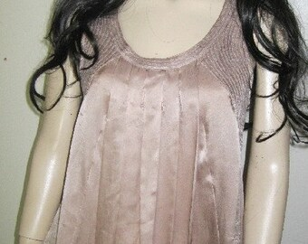 Roaring 90's.tm  DUSTY Rose Pure SILK Ruched Top Designer