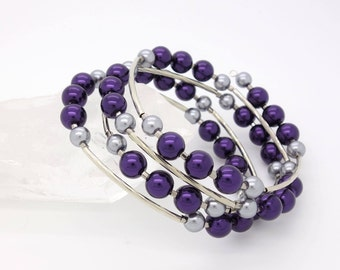 Purple Memory Wire Bracelet Purple Wrap Bracelet Purple Bracelet Purple Beaded Bracelet Silver Bracelet Purple and Silver Bracelet