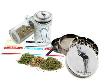 "Marilyn Monroe - 2.5"" Zinc Alloy Grinder & 75ml Locking Top Glass Jar Combo Gift Set Item # 50G012516-19"