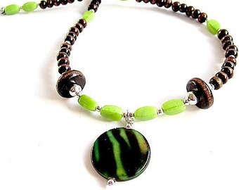 Brown and Lime Green Necklace Silver Jewelry Wood Bead Jewellery Shell Pendant Turquoise Gemstone Earthy Casual